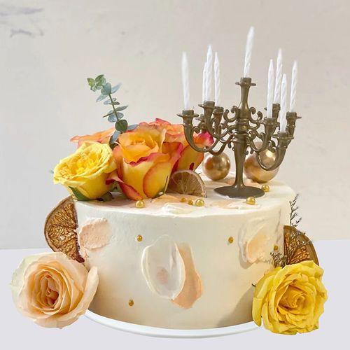 仿真生日蛋糕模型2021新款网红鲜花花卉烛台定制塑胶