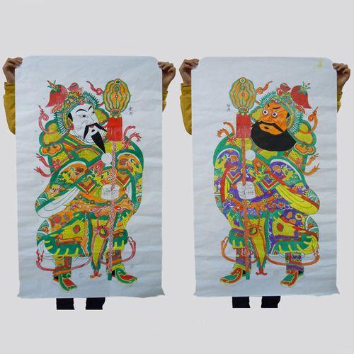 中国风凤翔木版年画木板年画大幅尺寸民间工艺品老年画文武门神画
