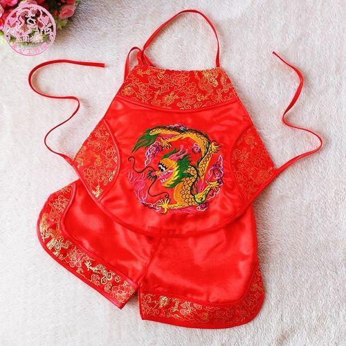 宝宝肚兜儿童肚兜夏薄款套装男女婴儿小红兜兜刺绣龙凤拍照服装