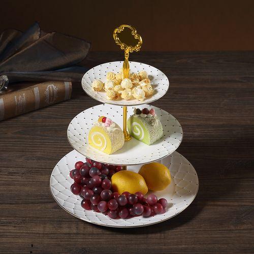 客厅高档欧式三层水果串盘蛋糕糖果盘家用陶瓷托盘