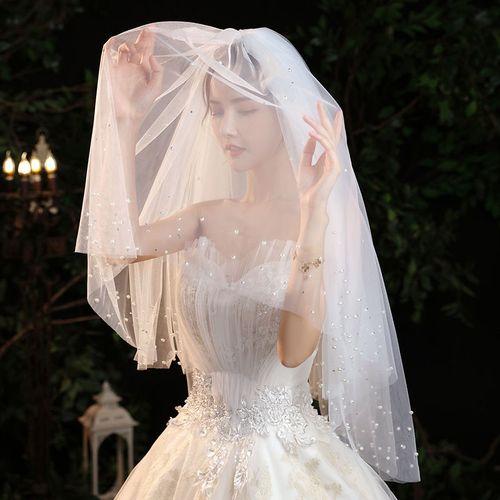 新娘结婚头纱带钻蓬蓬纱超仙森系珍珠头纱拍照道具