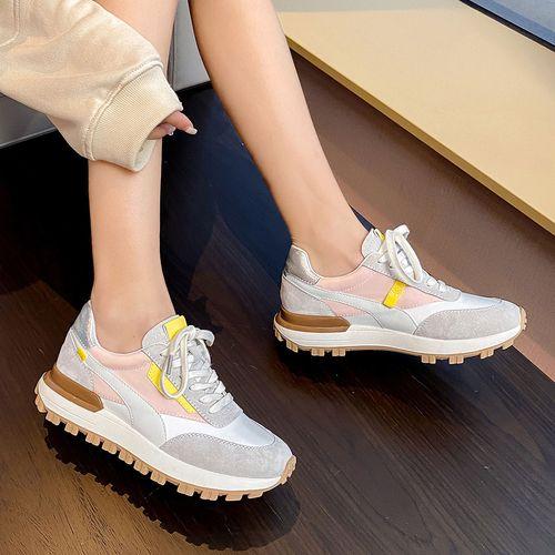 时尚运动鞋真皮2021春季新款系带透气百搭厚底女士休闲鞋