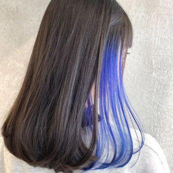 女生挑染蓝色头发图片大全图片大全图片2015款