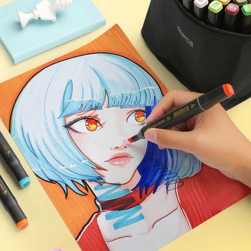 正版油性双头touch马克笔学生动漫手绘设计套装243648色水彩笔正