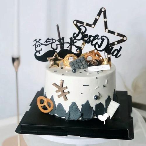 2020父亲节生日蛋糕装饰好爸爸dad五角星星巧克力蜂窝金树叶插牌
