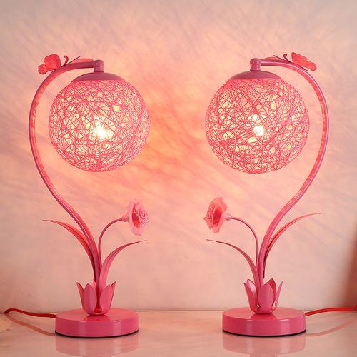 大红喜庆床头结婚粉红色装饰台灯卧室婚房婚庆少女一