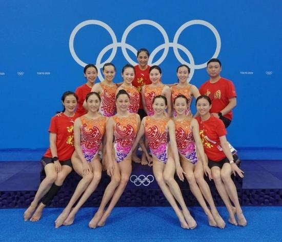 黄雪辰,呙俐,梁馨枰,尹成昕,冯雨,肖雁宁和王芊懿组成的中国花样游泳